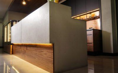 Concrete countertop & reception desk.