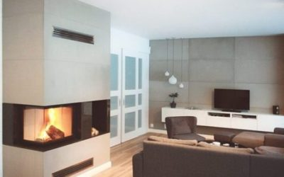 Fireplace and cement wall decoration