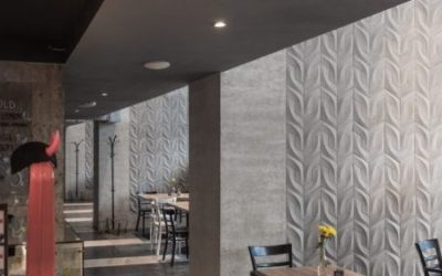 Architectural concrete decorates the interior of a well-known restaurant.